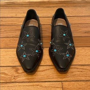 Valentino Black Turquoise Star Studded Loafers